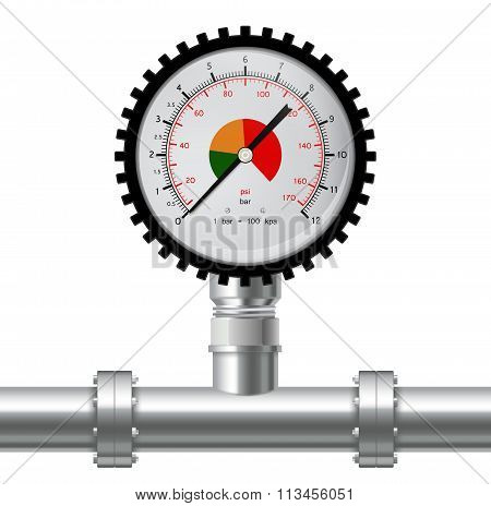 Manometer and Chrome pipes with flange.