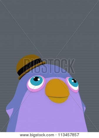 Funny Cartoon Penguin Bird With A Hat