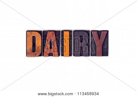 Dairy Concept Isolated Letterpress Type