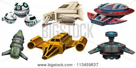 Different design of spaceships illustration