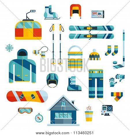 Winter Sports Kit. Winter Activity Flat Icons