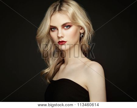 Portrait Of Beautiful Woman With Elegant Hairstyle