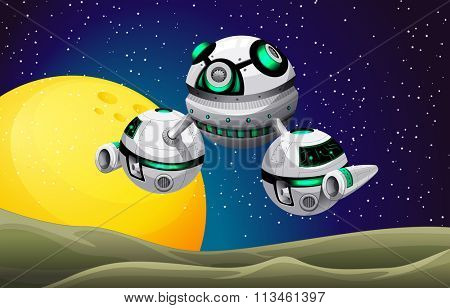 Round spaceship floating in the space illustration