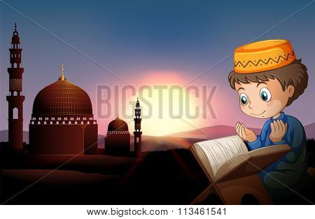 Muslim boy praying at mosque illustration