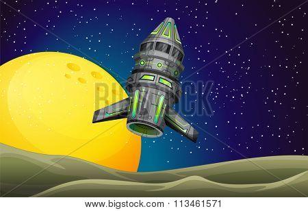 Rocket ship flying in the sky illustration