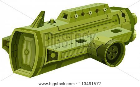 Green rocketship on white illustration
