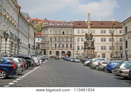 Prague, Czech Republic - April 28, 2010: Malostranske Namesti With Plague Column. It Is A Main Squar
