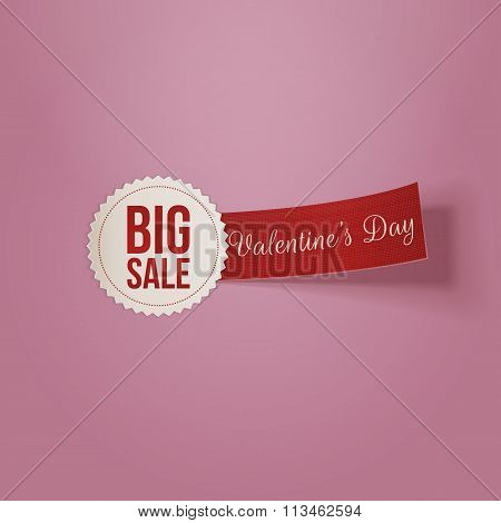 Realistic Valentines Day white Big Sale Label