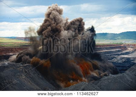 Explosive works on a coal mine