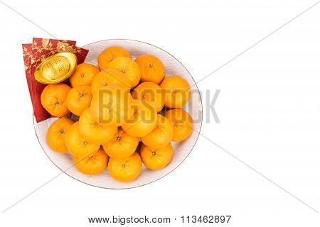 Mandarin Oranges,  Gold Nuggets, Red Packets With Good Luck Character