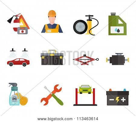 Car service repair vector icons set. Car repair vector sign illustration. Car service vector icons isolated on white background. Modern flat style car service icons. Vector silhouette of car service