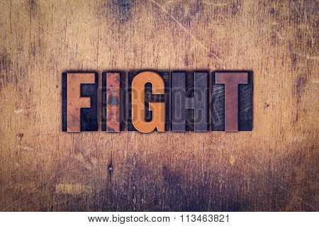 Fight Concept Wooden Letterpress Type