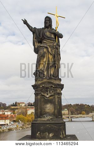 St. John The Baptist On Charles Bridge In Prague