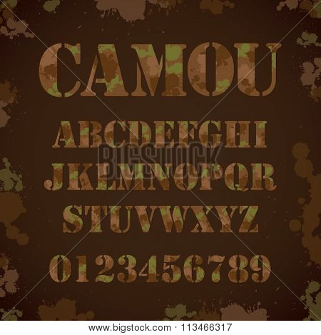 Vector of camouflage typography and font set