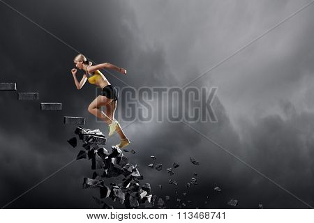 Sports woman overcoming challenges