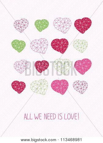 'All we need is love!' card. For Valentine's Day.