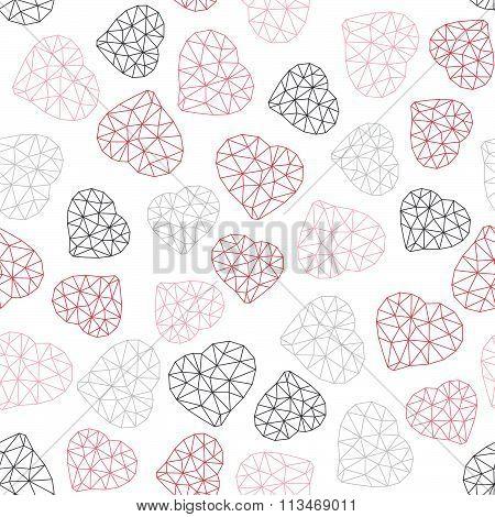 Low-poly polygonal background. Valentine's Day.