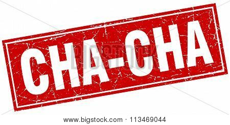 Cha-cha Red Square Grunge Stamp On White