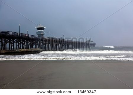The Seal Beach Pier in Southern California during the El Nino Storms of 2016