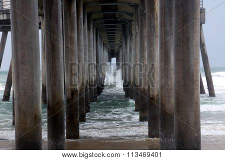 Underneath the Huntington Beach Pier in Southern California during the El Nino of 2016