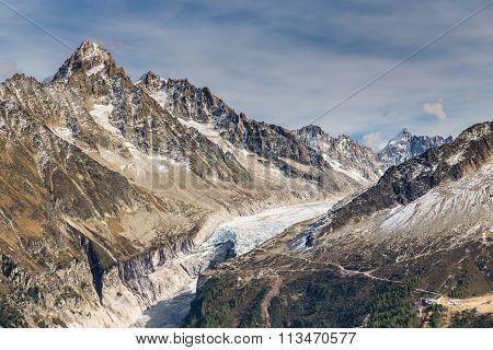 Glacier D Argentiere And Mountain Range-france