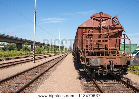 Rail wagon close to the harbor bridge