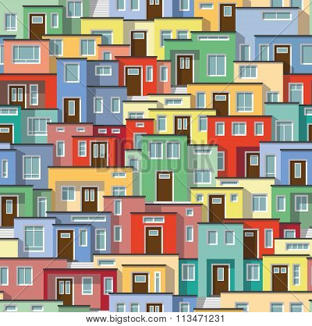Continuous Background Of Modern Colorful Houses