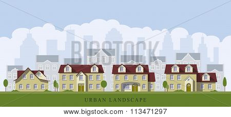 Urban Cityscape With Old Mansions