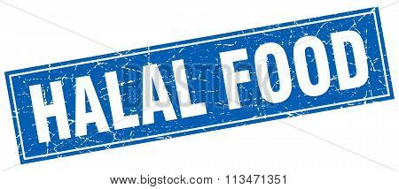 Halal Food Blue Square Grunge Stamp On White