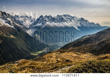 Mountain Range With Mont Blanc - France