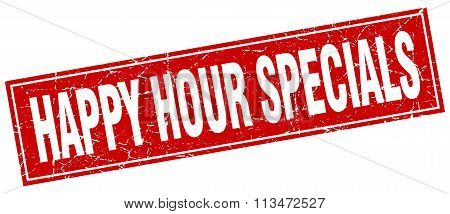 Happy Hour Specials Red Square Grunge Stamp On White