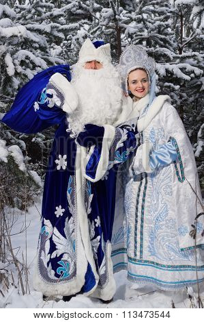 Russian Christmas Characters: Ded Moroz (father Frost) And Snegurochka (snow Maiden) In The Winter F