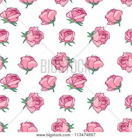 Seamless pattern in pencil style. The pattern of delicate roses. Rosebuds background is pink. Delica