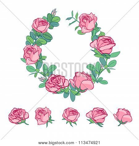 illustration with rose decoration isolated on white background. The wreath of roses. Single roses dr