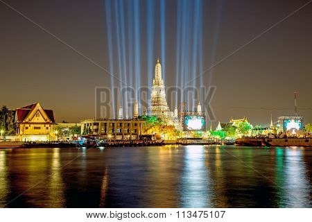 Wat Arun Temple in the night with Lighting effects Bangkok Thailand