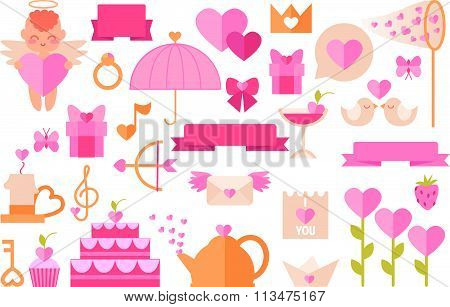 Various objects on a theme of Valentine's Day and love style flat. Illustration in style flat. Icons
