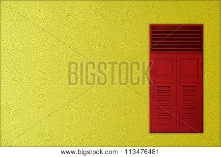 Classic Red Wooden Windows On Yellow Rough Cement Background