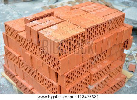 Heap Of Red Bricks.