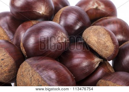 Heap Of Raw Sweet  Chestnuts , Close Up