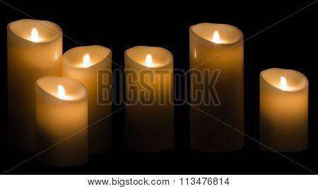 Candle Light, Wax Candles Lights In Night On Black