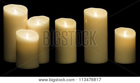 Candle Light, White Wax Candles Lights In Night Isolated On Black Background