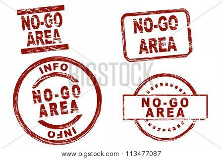Set of stylized ink stamps showing the term no-go area.