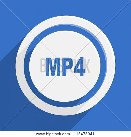 mp4 blue flat design modern vector icon for web and mobile app
