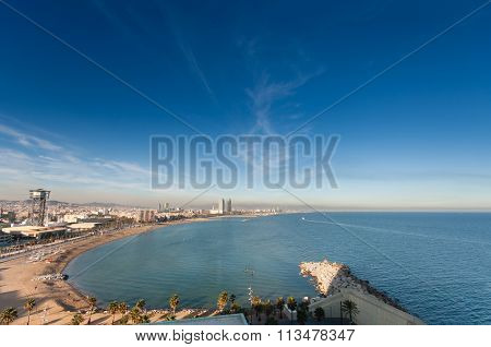 Barcelona, Spain - November 10, 2015: Panoramic View Of City Seascape With San Sebastian, San Miguel