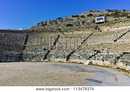 Ruins of Ancient Theater in the archeological area of Philippi, Eastern Macedonia and Thrace