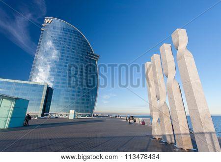 Barcelona, Spain - November 10, 2015: W Barcelona Hotel, Also Known As The Hotel Vela (sail Hotel) O