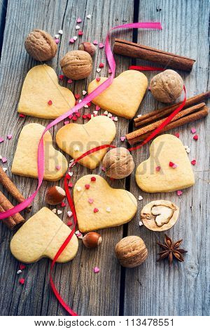 Placer Shortbread Valentines, Colorful Sweet Hearts, Ribbons And
