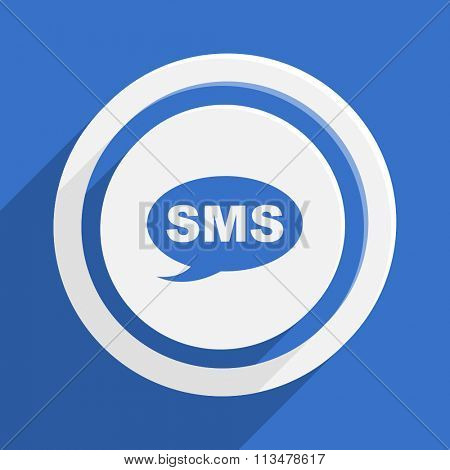 sms blue flat design modern vector icon for web and mobile app