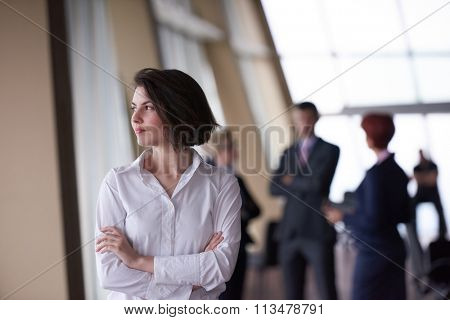 Smilling young start up business woman in front her team blured in background. Group of young business people. Modern bright  startup office interior.