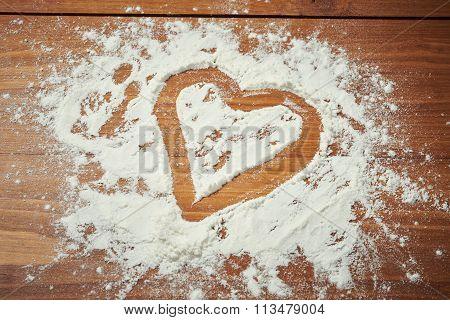 Valentines Day Heart In Flour